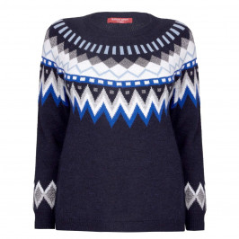 MARINA RINALDI NAVY LUREX FAIR ISLE SWEATER - Plus Size Collection
