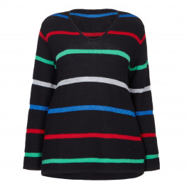 MARINA RINALDI LUREX black STRIPE SWEATER - Plus Size Collection