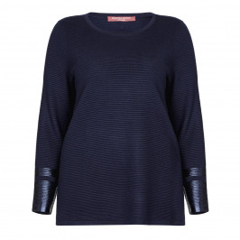 Marina Rinaldi RIBBED ROUND NECK SWEATER with METALLIC CUFF - Plus Size Collection