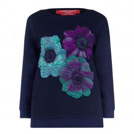 MARINA RINALDI NAVY SWEATSHIRT WITH FLORAL TEXTURED MOTIF - Plus Size Collection