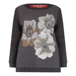 MARINA RINALDI GREY SWEATSHIRT WITH FLORAL TEXTURED MOTIF