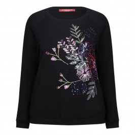 MARINA RINALDI EMBROIDERED FLOWER SEQUIN SWEATER - Plus Size Collection