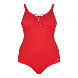 Marina Rinaldi red swimsuit with lace-up bust - Plus Size Collection
