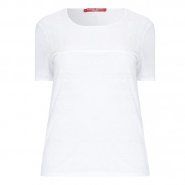 MARINA RINALDI white linen T SHIRT with lace yoke - Plus Size Collection