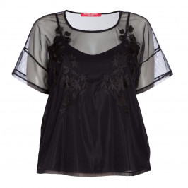 MARINA RINALDI BLACK SHEER EMBROIDERED TULLE TOP  - Plus Size Collection