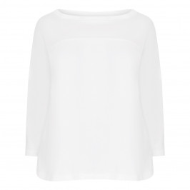 MARINA RINALDI SCOOP NECK TOP WHITE  - Plus Size Collection