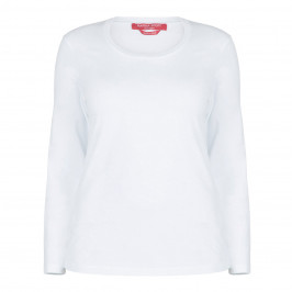 MARINA RINALDI WHITE ROUND NECK LONG SLEEVE TOP - Plus Size Collection
