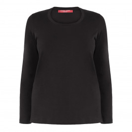 MARINA RINALDI BLACK ROUND NECK LONG SLEEVE TOP - Plus Size Collection
