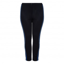 Marina Rinaldi NAVY JERSEY TROUSERS WITH VELVET SIDE STRIPES - Plus Size Collection