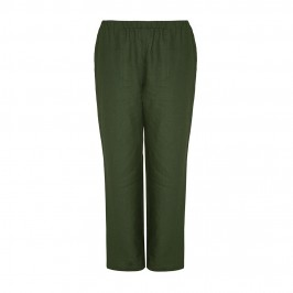 MARINA RINALDI dark green linen TROUSERS - Plus Size Collection