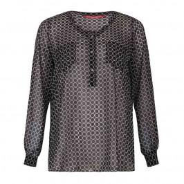 MARINA RINALDI Collarless black tunic blouse - Plus Size Collection