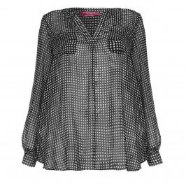 Marina Rinaldi Navy & White check georgette Tunic - Plus Size Collection