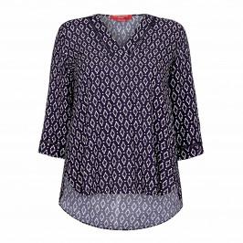 MARINA RINALDI PRINTED TUNIC NAVY - Plus Size Collection