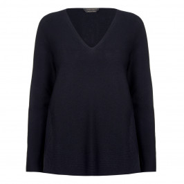 MARINA RINALDI V-NECK SWEATER NAVY - Plus Size Collection