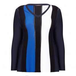 Marina Rinaldi BLUE AND BLACK vertical stripe SWEATER