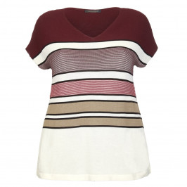 Marina Rinaldi Mahogany horizontal stripe SWEATER - Plus Size Collection