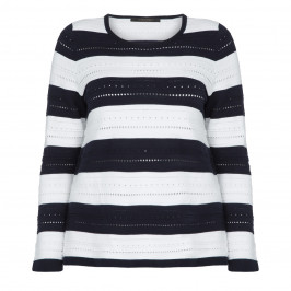 MARINA RINALDI NAVY AND WHITE STRIPE SWEATER - Plus Size Collection