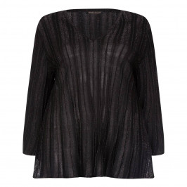 MARINA RINALDI BLACK RIB LUREX SWEATER - Plus Size Collection