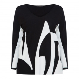MARINA RINALDI ABSTRACT PRINT SWEATER BLACK AND WHITE  - Plus Size Collection