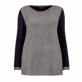 MARINA RINALDI NAVY AND GREY SWEATER - Plus Size Collection
