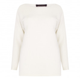 Marina Rinaldi soft knit rib detail cream sweater - Plus Size Collection
