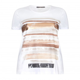 Marina Rinaldi embellished paint stroke top