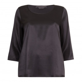 MARINA RINALDI BLACK SILK SATIN SCOOP NECK TOP  - Plus Size Collection