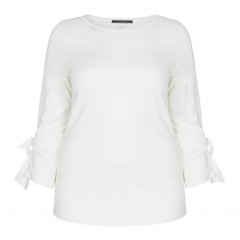 MARINA RINALDI STRETCH JERSEY TOP WITH EYELET TIE CUFF - Plus Size Collection