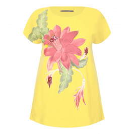 MARINA RINALDI COTTON STRETCH EMBELISHED HIBISCUS PRINT T SHIRT - Plus Size Collection