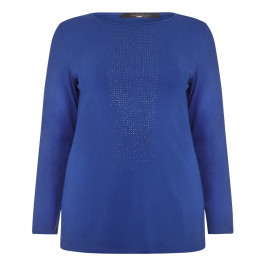MARINA RINALDI CHINA BLUE EMBELLISHED JERSEY TOP