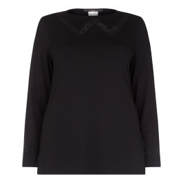 MARINA RINALDI black EMBELLISHED JERSEY TOP