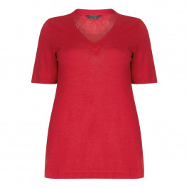 Marina Rinaldi red linen jerseyTOP - Plus Size Collection