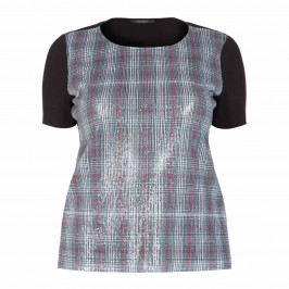 MARINA RINALDI SEQUIN CHECK FRONT TOP - Plus Size Collection