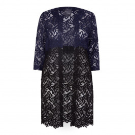 PERSONA BY MARINA RINALDI BLACK & NAVY LACE COAT 	 - Plus Size Collection