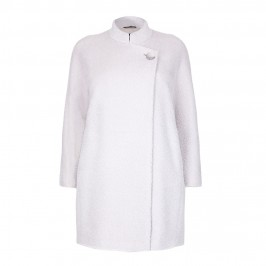 MARINA RINALDI ice white mandarin collar COAT - Plus Size Collection