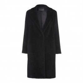 MARINA RINALDI CLASSIC BLACK brushed WOOL COAT - Plus Size Collection