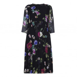 Marina Rinaldi silk georgette floral DRESS with optional sleeves - Plus Size Collection