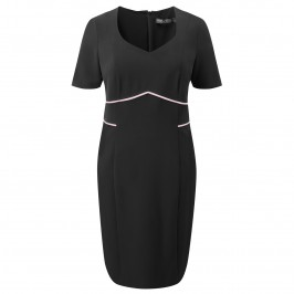 Marina Rinaldi BLACK TAILORED DRESS WITH PINK DETAILS - Plus Size Collection