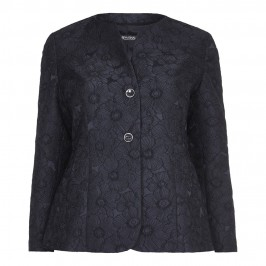 MARINA RINALDI BLACK BROCADE collarless JACKET - Plus Size Collection