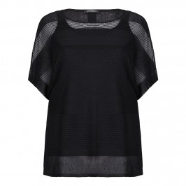 MARINA RINALDI semi-sheer knitted black TUNIC - Plus Size Collection
