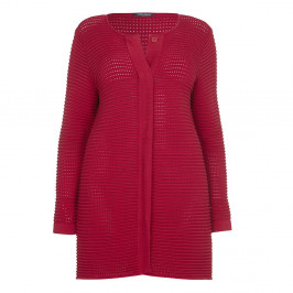 Marina Rinaldi textured red cotton CARDIGAN - Plus Size Collection
