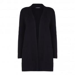 MARINA RINALDI longline collarless black CARDIGAN - Plus Size Collection
