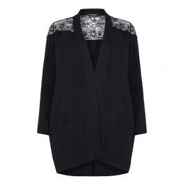 MARINA RINALDI BLACK LACE INSERT BOYFRIEND CARDIGAN - Plus Size Collection