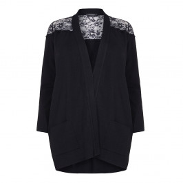 MARINA RINALDI BLACK LACE INSERT BOYFRIEND CARDIGAN - Plus Size Collection