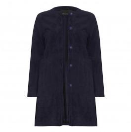 MARINA RINALDI LONG suede collarless navy JACKET - Plus Size Collection
