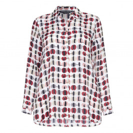 Marina Rinaldi silk abstract red print SHIRT - Plus Size Collection