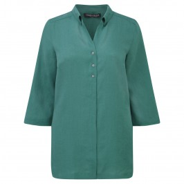 MARINA RINALDI TEAL LINEN SHIRT - Plus Size Collection