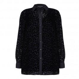 MARINA RINALDI black leopard DEVORÉ SHIRT - Plus Size Collection
