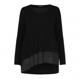 MARINA RINALDI asymmetric chiffon detail black SWEATER - Plus Size Collection