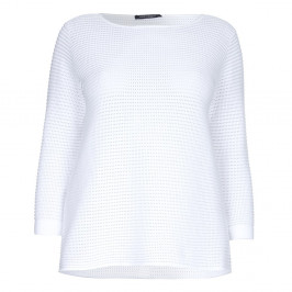 Marina Rinaldi horizontal rib white cotton SWEATER - Plus Size Collection